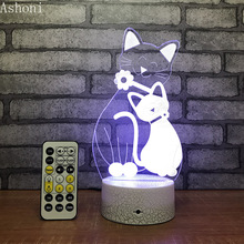 купить Cat 3D Table Lamp LED Night Light 7 Colors Changing Bedroom Sleep Lighting Home Decor Gifts дешево