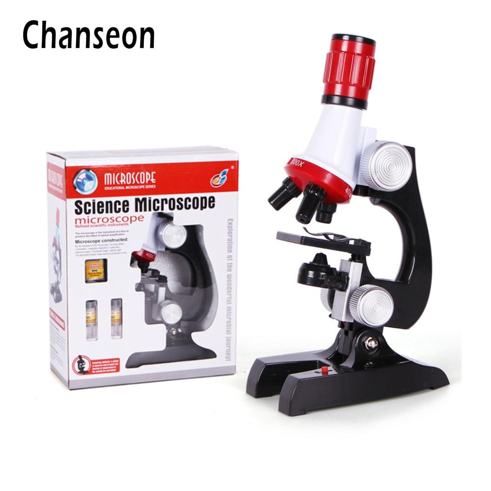 ชุดกล้องจุลทรรศน์ Lab LED 100X-400X-1200X บ้านโรงเรียนวิทยาศาสตร์การศึกษาของเล่นของขวัญกลั่นกล้องจุลทร...