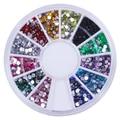 2000pcs 12 colors/wheel Rhinestone Acrylic UV Gel Nail art - 2MM Round Rhinestone Nail Art Glitter Decoration UV Gel Nail