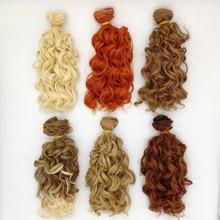 6 pçs/lote diy bjd peruca cabelo encaracolado 15cm, cabelo sintético para bonecas