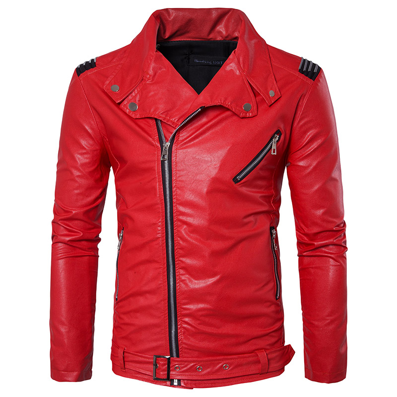 2018 Spring and Autumn Thin Men's Casual Long sleeved Leather Jacket, Stylish Solid Color Lapel Slim PU Leather Men's Jacket red