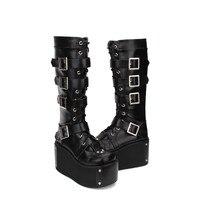 Принцесса сладкий панк обувь весна Лолита супер толстой подошве сапоги на высоком каблуке в стиле «готический панк» Сапоги на молнии обувь