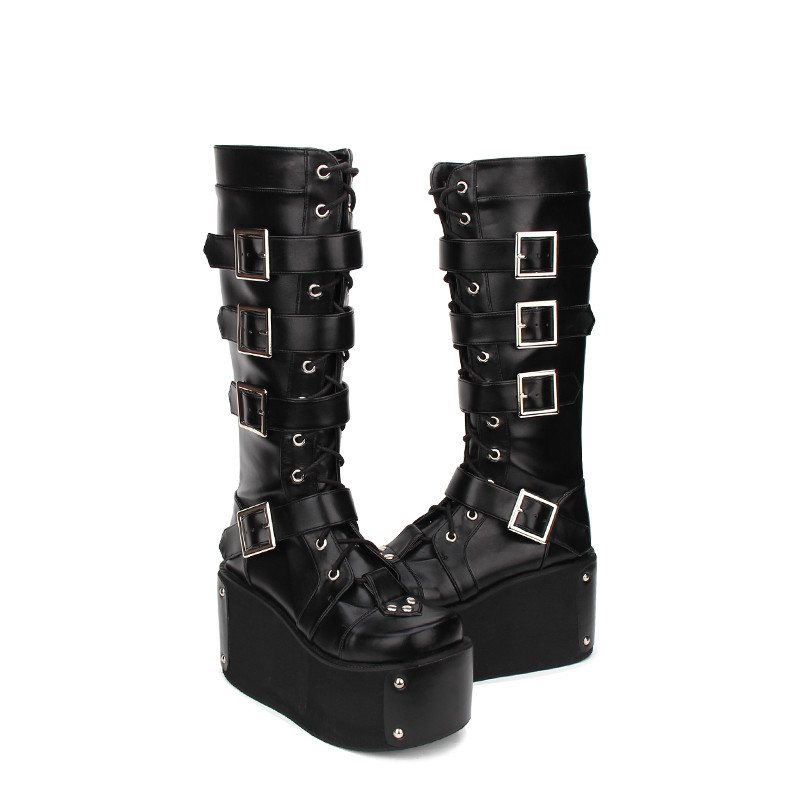 цена на Princess sweet punk shoes spring Lolita super thick soled high-heeled boots Gothic Punk boots lace zipper Muffin boots pu9708