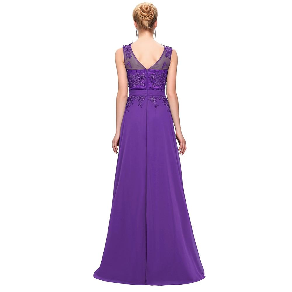 Lila Abendkleid Plus Größe Chiffon Flügelärmeln Prom Kleider Stickerei Rosa  Lange Abendkleider Weiß Formales Partei kleid CL7555 in Lila ...