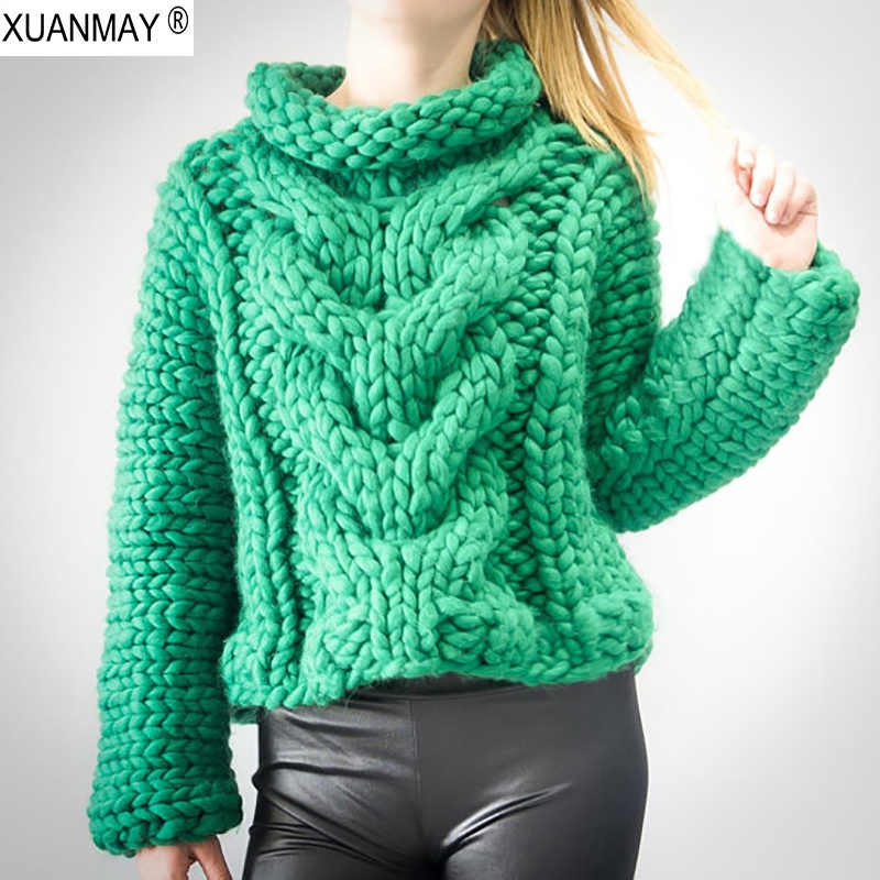 Autumn Women Thick Warm High-necked Long sleeve pullover sweater 2018 Fashion design Pure Hand-made Green Thick Sweater coat