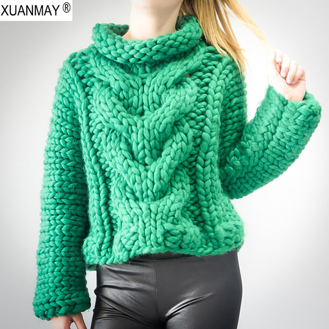 Autumn Women Thick Warm High-necked Long sleeve pullover sweater 2018  Fashion design Pure Hand-made Green Thick Sweater coat 8b21eb56d