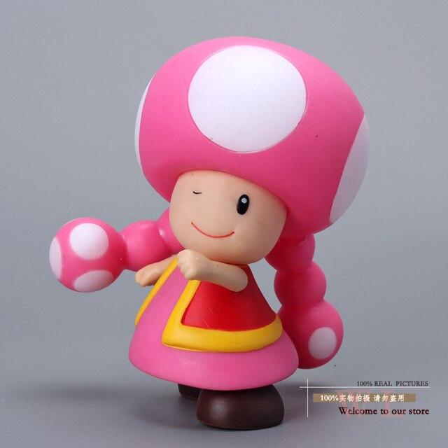 "Frete Grátis Super Mario Bros Cogumelo Toadette Figuras PVC Action Figure Modelo Toy Boneca 3.5 ""9 cm SMFG206"