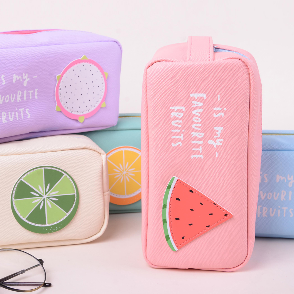 Cute Fruit Pencil Case Box Student Pen Bag Purse Cosmetic Pouch Brush Holder Makeup Bag mint student navy canvas pen pencil case coin purse pouch bag jun01