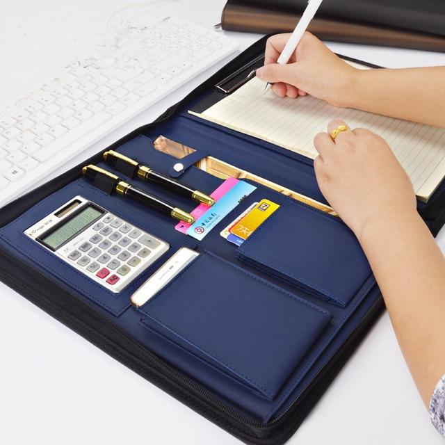 A4 fermuar kıdemli PU deri iş iş yöneticisi çantası konferans dosya klasörü organizatör satış sözleşmesi klasörleri portföyleri 641B