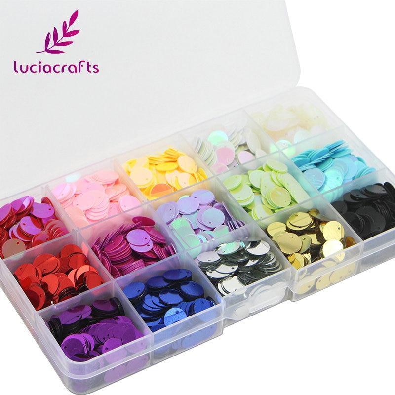 Lucia artesanías 1 caja/lote 10mm mezcla 15 colores ronda taza del arco iris de La escama coser lentejuelas Paillettes flojos DIY para la ropa 24010025 (10HS1)