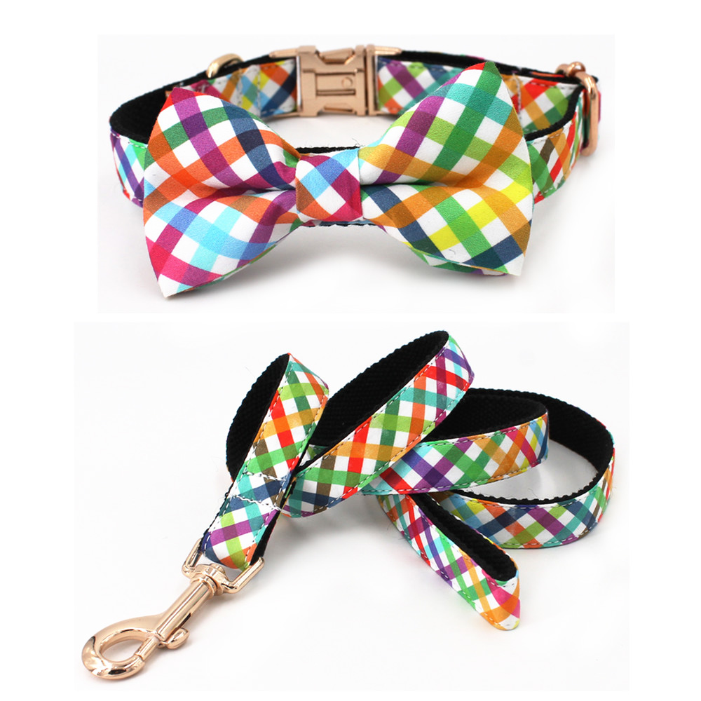 Fashion Colorful Plaid Dog collar with bow tie Leash for 5size to choose best gifts for