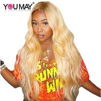 613 блондинка Синтетические волосы на кружеве парики человеческих волос с волосы младенца 150% плотность объемная волна 13x4 Цветной бразильски