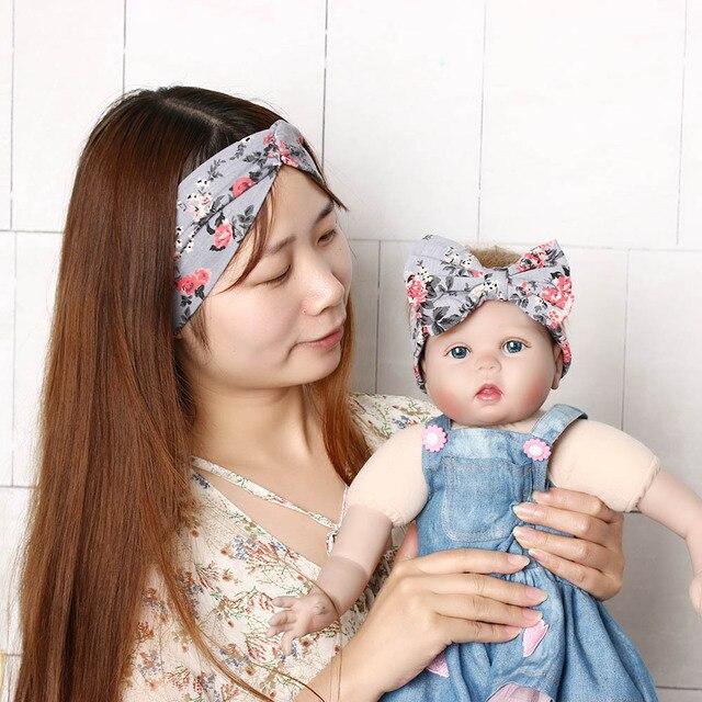 1cd5295c5 2pcs set Mommy and Me Top Knots Fabric Headwrap Rabbit Ear Headband ...