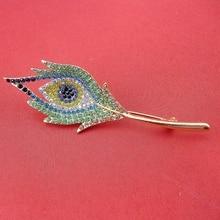 New Golden 2016 Trendy Jewelry Fashion Women Rhinestone Elegant Multi-Colored Feather Leaf Brooch Pin, Item No.: BH7930