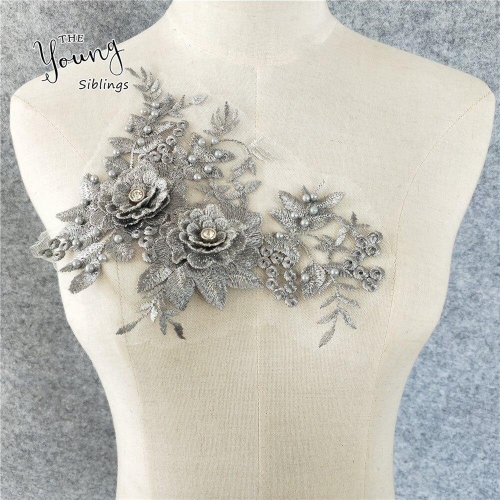 Neckline Motif Rayon Lace Applique VNeck Lace Trim neckline bead patch 1pc