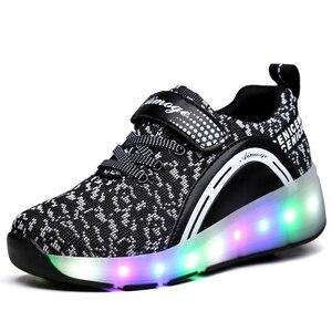 Image 5 - ילדים זוהר סניקרס סניקרס עם גלגלי Led אור עד רולר גלגיליות ספורט זוהר מואר נעליים לילדים בני ורוד