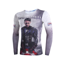 3D t-shirts digital printing compressed t-shirts men long sleeve captain America 3 Deadpool Superman iron Man  model
