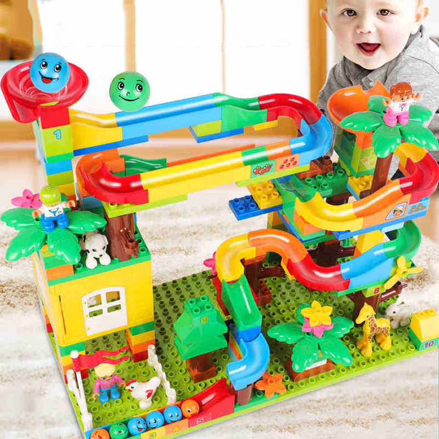 401 Pcs Set Marble Run Toys Large Particles Children 39 s Slide Building Blocks Assembled Track Ball Toys Boy Girl Gifts in Blocks from Toys amp Hobbies