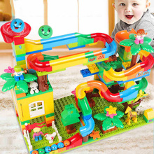 401 Pcs Set Marble Run Toys Large Particles Childrens Slide Building Blocks Assembled Track Ball Boy Girl Gifts