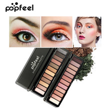 Popfeel Fashion Glitter Eyeshadow Palette 12 Colors Pigment Eye Makeup Cosmetic Matte Shimmer Shadow Waterproof Women Beauty