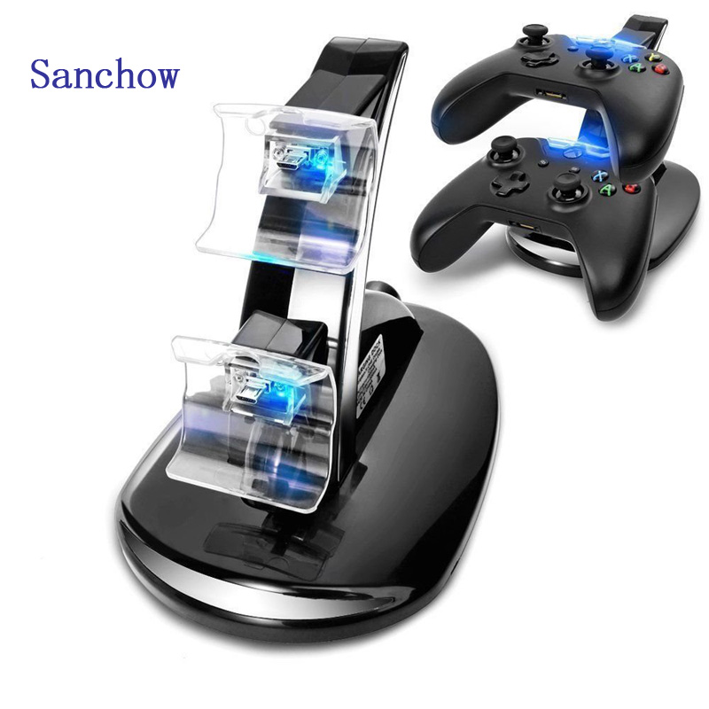 Sanhow Hot Sale Dual Controller Holder USB LED Fast Charging Stand Dock Station for Dual Xbox One Game Controller image