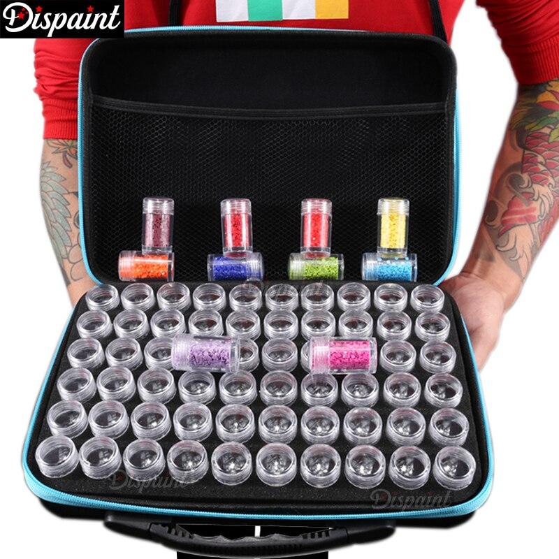 Dispaint 60 Flaschen Diamant Malerei Box Werkzeug Container Lagerung Box Tragen Fall Halter Hand Tasche Zipper Design Stoßfest Langlebig