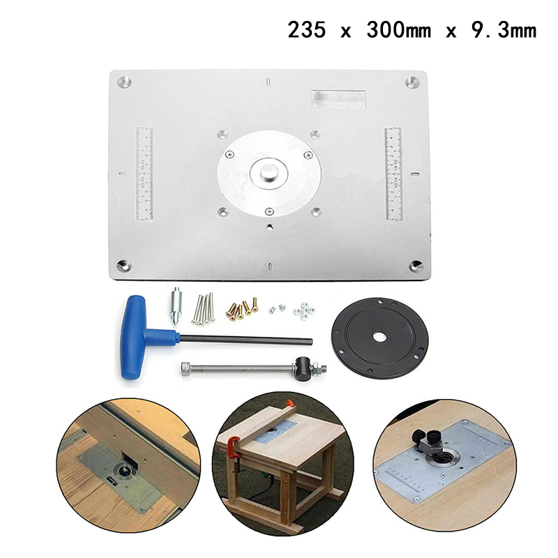 Aluminum Plunge Router Table Insert Plate w/ Ring For DIY Woodworking Work Bench deep v plunge teddy