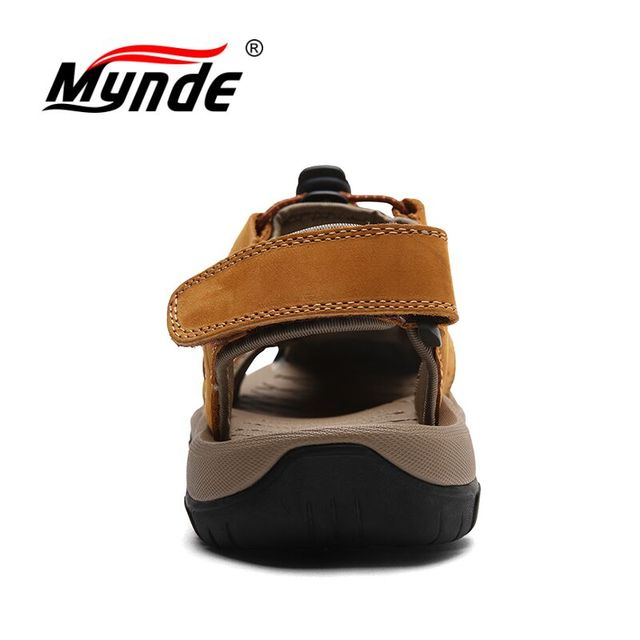 Mynde Brand Genuine Leather Men Shoes Summer New Large Size Men's Sandals Men Sandals Fashion Sandals Slippers Big Size 38-47