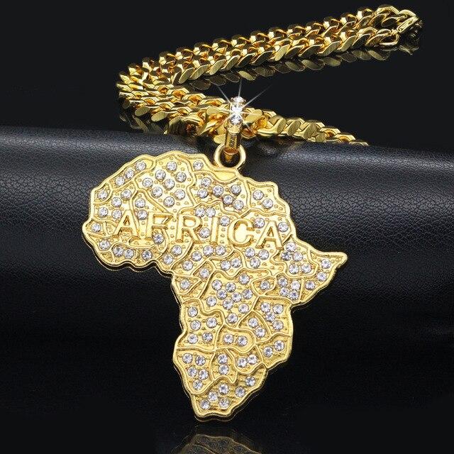 WEIYU Trendy Rhinestone Crystal Gold Africa Map Pendant Necklace Hip Hop Nightclub Jewelry For Men/Women Gift African Jewelry