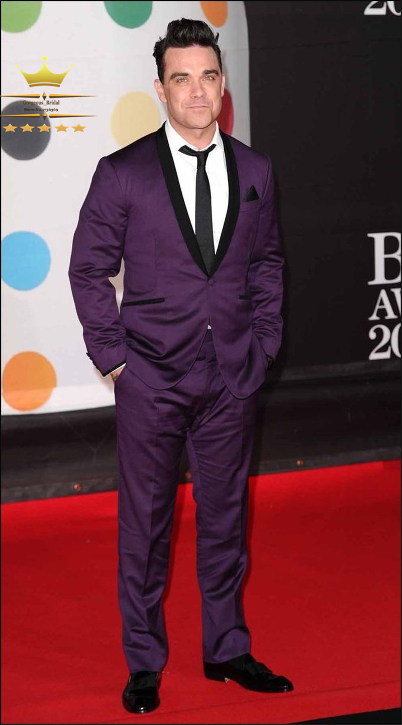 Purple Suit Custom Made Wedding Suits With Pants Mens Tuxedos ...