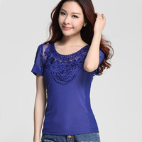 Elegant Slim Mesh Tops New 2016 Fashion Casual Short Sleeved Patchwork Diamonds Women Blouses Sexy Hollow