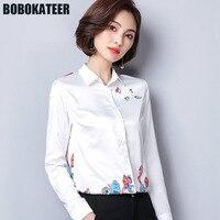 BOBOKATEER Office Shirt Long Sleeve Blouse Women Shirts White Print Ladies Blusas Womens Tops And Blouses