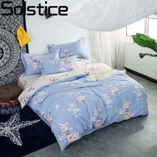 Solstice Textile Cotton Simple Light Blue Flowers Style 4pcs Bedding Sets Duvet Cover Pillowcase Bedclothes