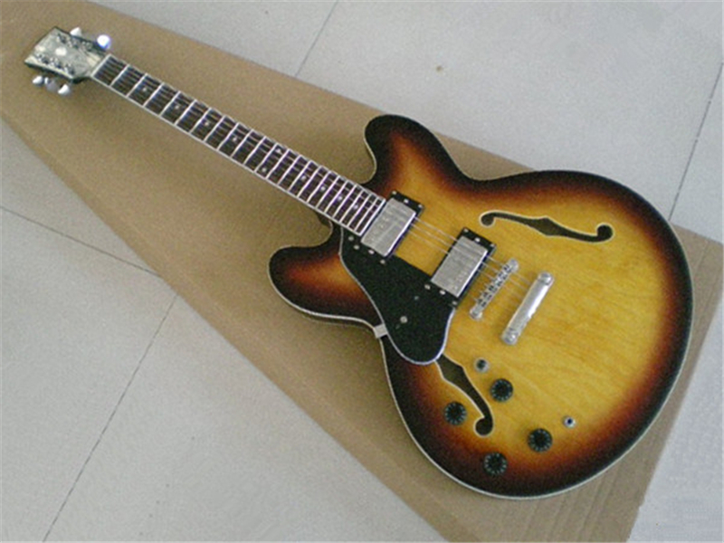 Wholesale & Retail Vintage Sunburst Double Cutaway Jazz Guitar Body ES 359 Electric Chinese Guitar Custom Lefty Available china custom shop es electrics jazz guitar cherry sunburst tiger flame single cut hollow body guitarra left handed available