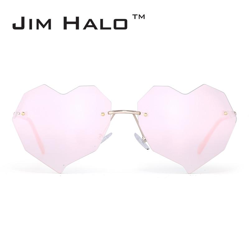 Jim Halo Onregelmatige Hart Randloze Zonnebril Dames Transparant - Kledingaccessoires