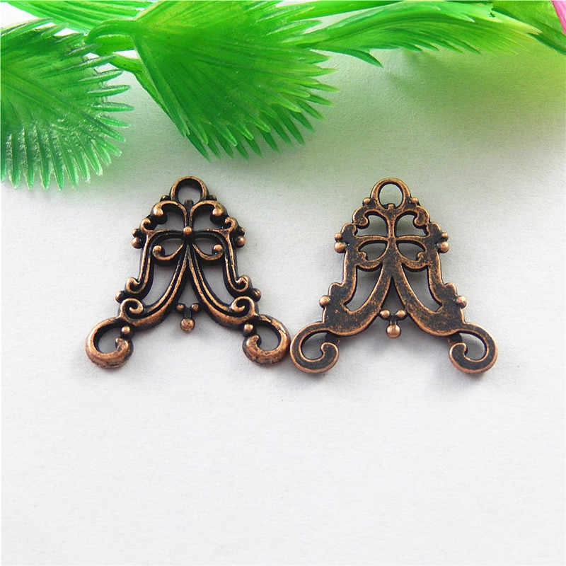 20pcs Antique Copper  Irregular Creative Style Connector Pendant  Charm Unisex Popular Jewelry Key Chain Accessory 20*20*2mm