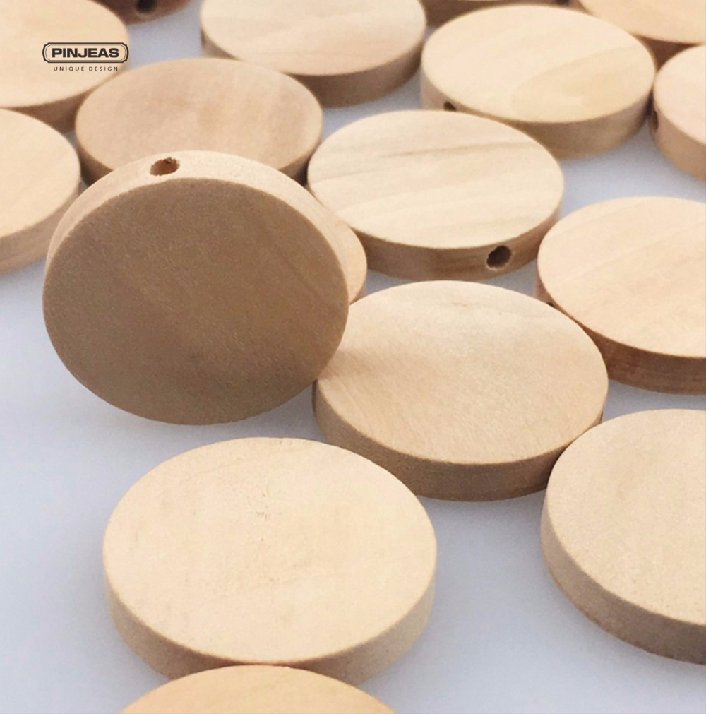 Pinjeas 100pcs 20mm natural flat wood round beads for Wood circles for crafts