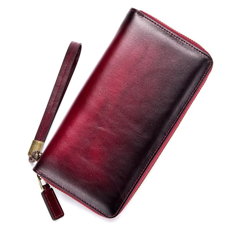 все цены на New Real Leather Retro Long Wallet Women's Clutch Bag Large Screen Mobile Phone Bag Carteira Men Wallets Wristlet Gradient Color онлайн
