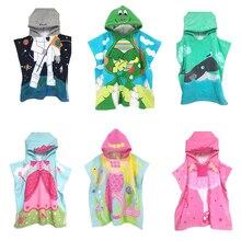 Детское милое пляжное полотенце с капюшоном и мультяшным принтом, Детское Пончо для купания в бассейне, накидка, детское пляжное полотенце s