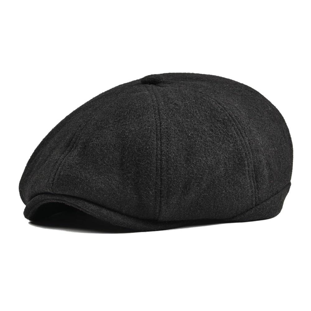 VOBOOM Black Tweed Woolen Newsboy Cap Men Women 8 Panel Country ... edd6906560f