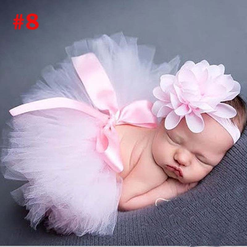 Лидер продаж; фатиновая юбка-пачка для маленьких девочек и повязка на голову с цветами; Комплект для новорожденных; реквизит для фотосессии; подарок на день рождения; 10 цветов; ZT001 - Цвет: Skirt and Headband 1