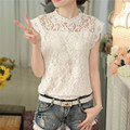 Korean style 2016 fashion summer plus size new loose sleeveless White gray female blouse slim elegant lace women shirt 59G 30