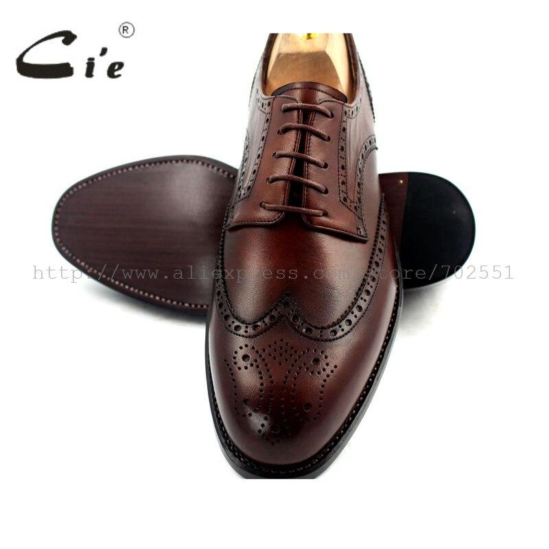 CIE Полный броги goodyear welted ручной работы из натуральной телячьей кожи Для мужчин платье Дерби шире последний темно-коричневый ботинок нет. d51