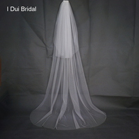 Soft Solid Tulle Two Layer Simple Bridal Veil 2 Meter With Comb