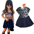 Summer Style 2017 Girl Outfit Kids Wear Leopard Shirt+Skirt+Belt 3 Pieces Suit Baby Girls Clothing Set Giyim Girl Dress Set C25