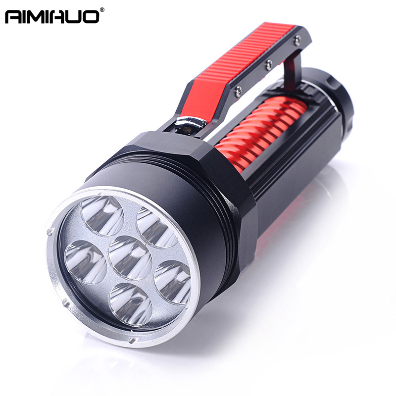 AIMIHUO Diving Flashlight LED 6 X CREE L2 8000LM Hard light Flashlight LED Torch Underwater Light For Rechargeable 26650 Battery