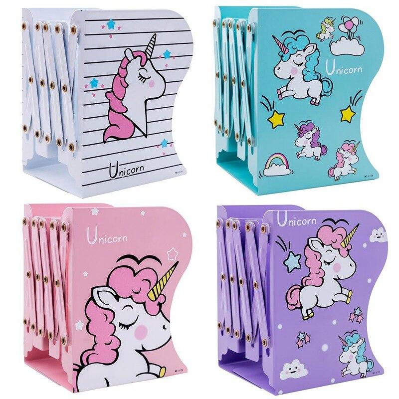 1PCS New Arrived  Kawaii Christmas Birthday Party Holiday Gift For Children Cute Unicorn Telescopic Metal Bookshelf 4 Styles!!!