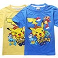 2016 Top Selling 3-10Y summer children's tee fashion Pikachu Pokemon Go style boys t-shirts classic Catoon shorts for child boys