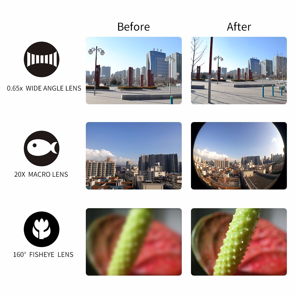APEXEL arrival Camera Lens Kit 3 in 1 Fisheye Lens Wide Angle Macro mobile phone Lens Kit for iPhone Android Xiaomi APL-YT3 5