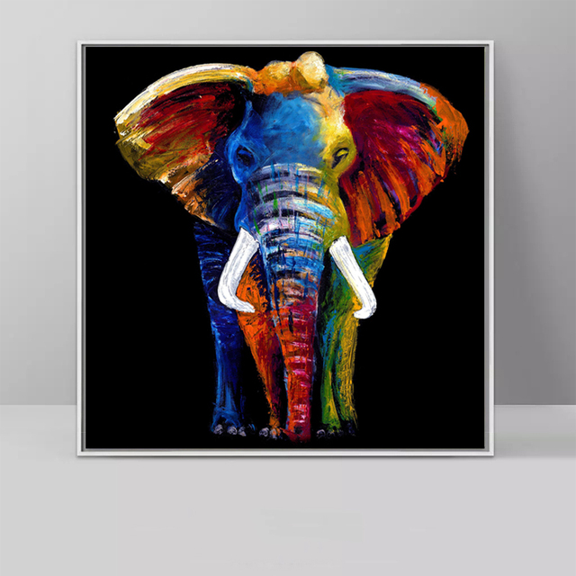 SELFLESSLY Colorful Elephant Canvas Painting For Living ...